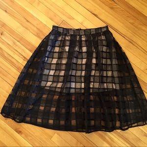 Full Circle Skirt Sheer Black Lattice Cream Lined